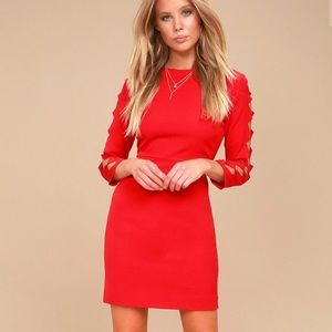 NWT Long Cut-Out Sleeve Red Dress
